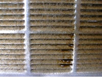 フィルターが油やホコリで汚れている状態