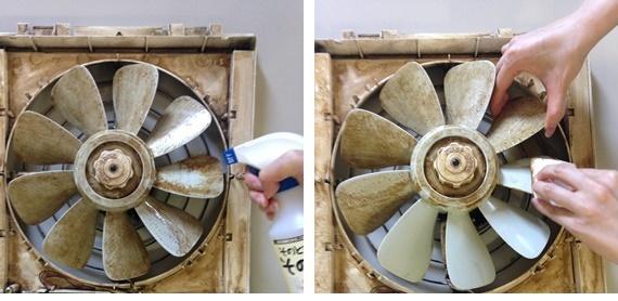 プロペラ式換気扇にも吹きつけて拭き取り