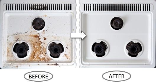 コンロの掃除before-after