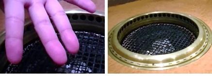 手に汚れが付かない、洗浄後の焼肉用コンロ