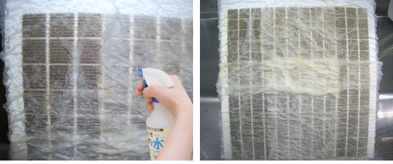 ペーパーを貼り付けてアルカリ電解水を噴霧