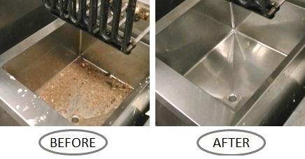 業務用フライヤーの洗浄前と洗浄後