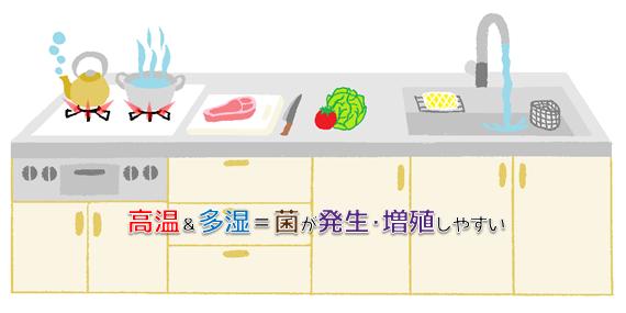 菌が発生しやすい高温多湿なキッチンの絵