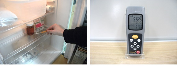 冷蔵庫内を検査後清浄度5625という結果の写真