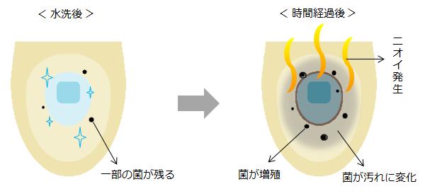 便器の中に残った菌が汚れに変化しニオイが発生するイラスト