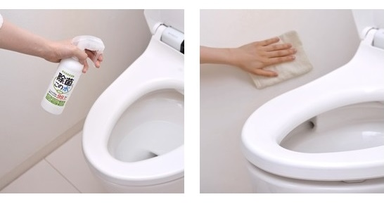微酸性電解水をトイレに噴霧している写真と噴霧後に壁を拭いている写真